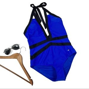Ted Baker Triangle Cut Out Bathing Suit in blue